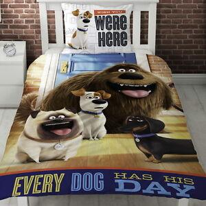 Secret-Life-of-Pets-Hounds-Single-Panel-Duvet-Cover-Bed-Set-Gift-2in1-Reversible