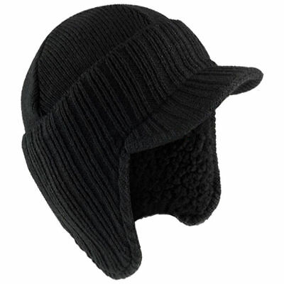 WARM WINTER PEAKED BEANIE THERMAL INSULATED OUTDOOR BLACK WORK HAT UK SELLER