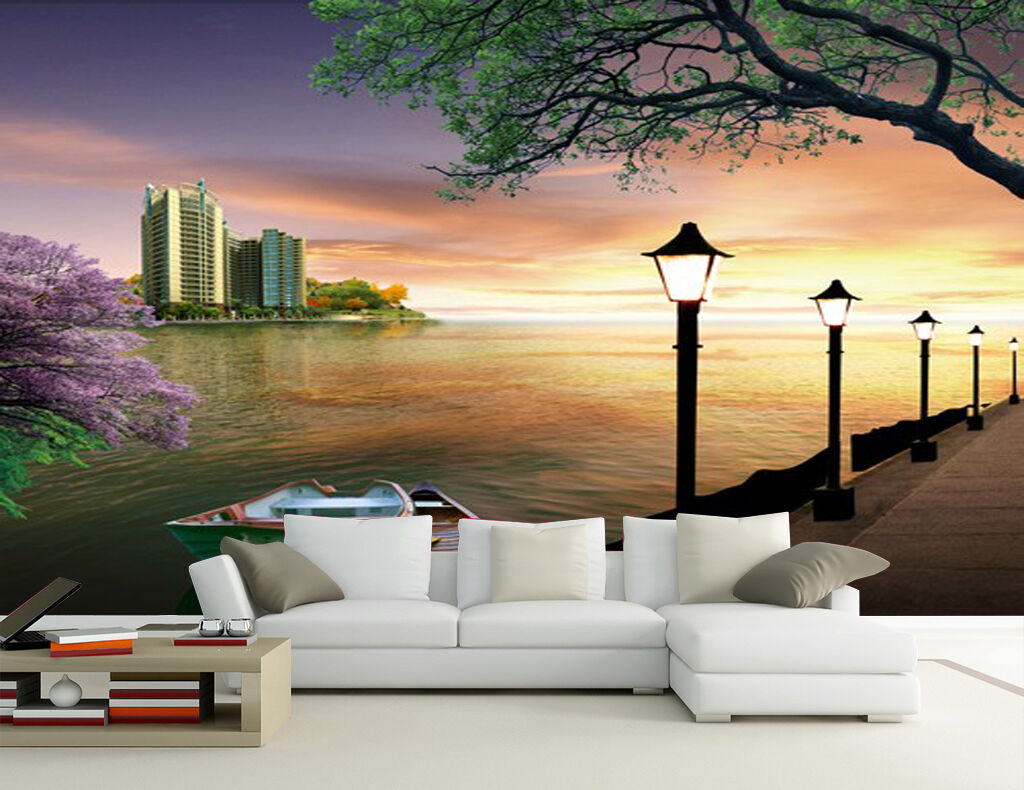 3D Riverside Street Paper Wall Print Wall Decal Wall Deco Indoor Wall Murals