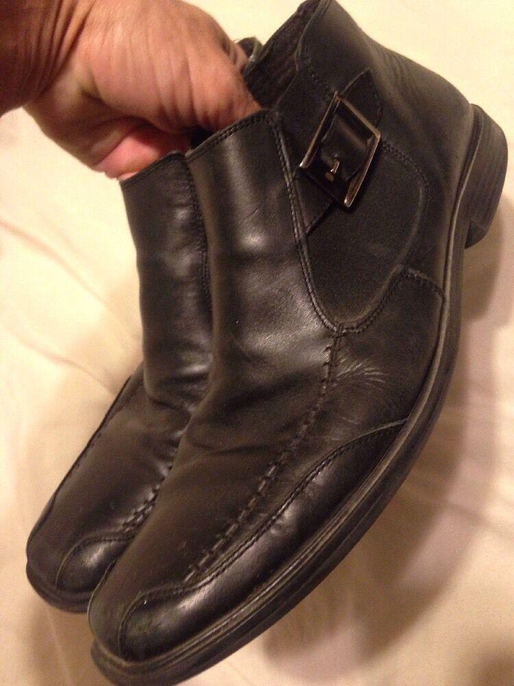 ALFANI LAVORAZIONE ARTIGIANA Mens Black Dress Ankle Buckle Boots - Sz 9.5 M