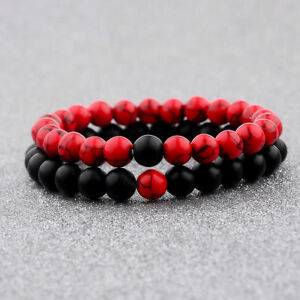 2Pcs-Set-Couples-Classic-Red-And-Black-Bracelet-8MM-Natural-Stone-Bracelets-Gift