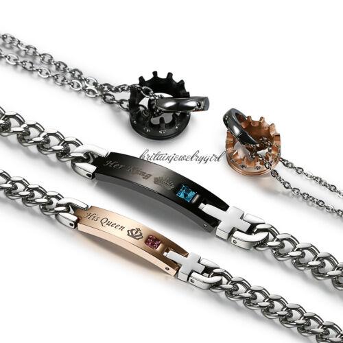 Couple en Acier Inoxydable Roi Reine Couronne Collier Pendentif Bracelet Valentine Set