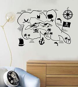 Marvelous Image Is Loading Vinyl Wall Decal Pirate Map Treasures Kids Room