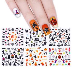 24Sheets Halloween 3D Nail Art Stickers Adhesive Transfer ...