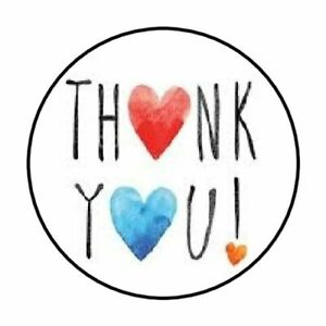 """48 THANK YOU BLUE RED HEARTS ENVELOPE SEALS LABELS STICKERS 1.2"""" ROUND"""