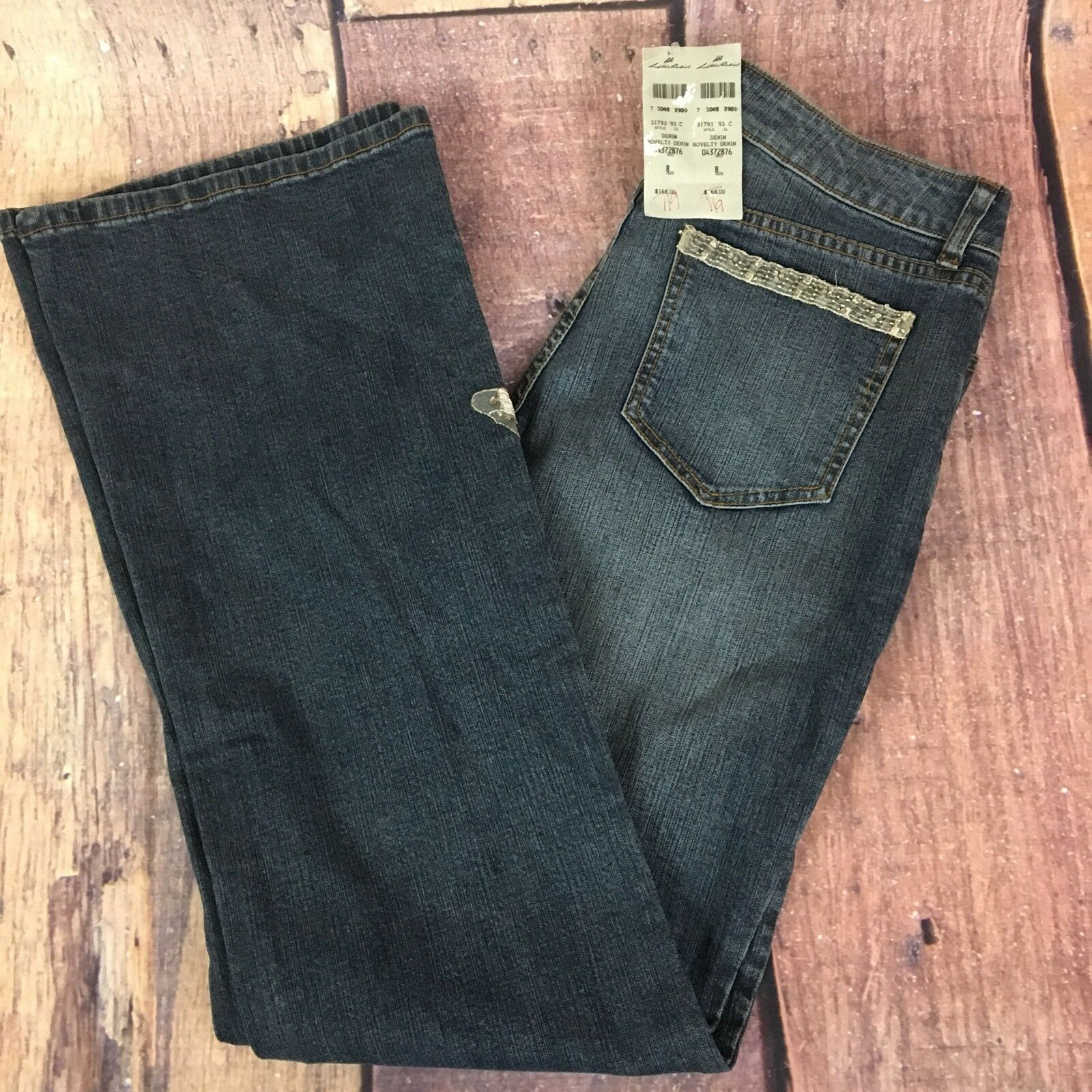 LILLIE RUBIN EMBROIDERED JEANS  SIZE 8  NWT