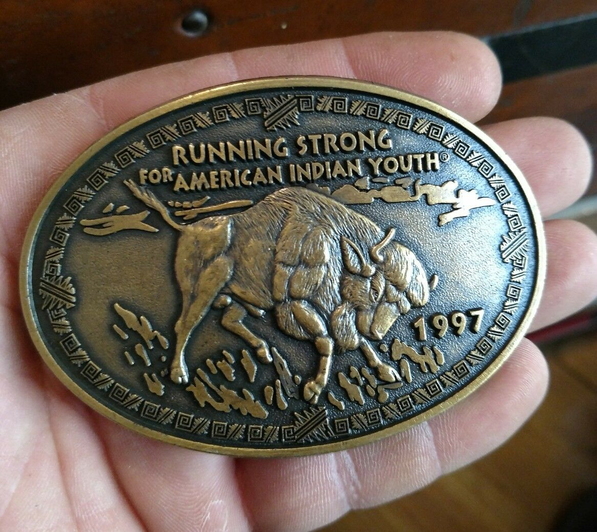 Running Strong for American Indian Youth 1997 Brass Belt Buckle Buffalo