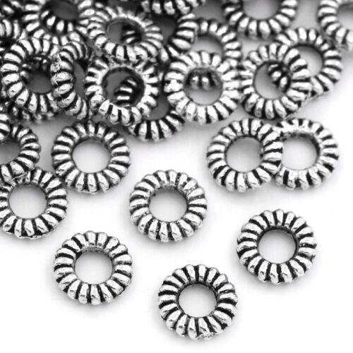 "2//8/"" Dia. Wholesale Lots Closed Jump Rings Stripe Silver Tone 5mm"