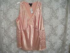 Lane Bryant PLUS Sz 24 STRETCH sleeveless blouse peach w/ satin look lace trim