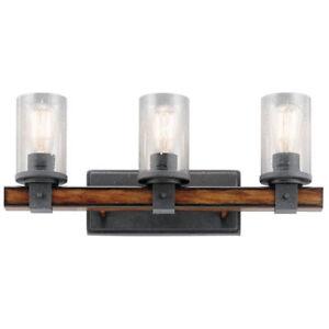 Kichler Lighting 3 Light Barrington Distressed Black And Wood Bathroom Vanity
