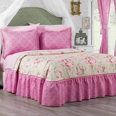 Pink With Beige Rosana Fl Bedspread Set Bed Skirt Attached Ebay