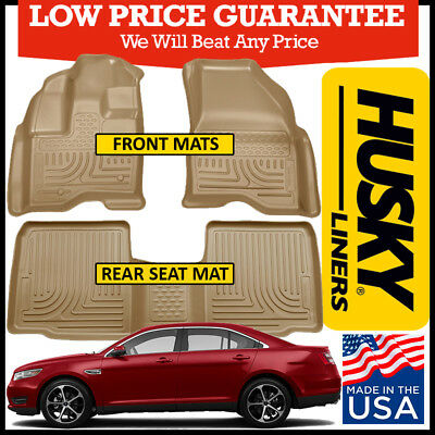 Husky WeatherBeater Tan Front /& 2nd Row Floor Liners for 2010-2018 Ford Taurus