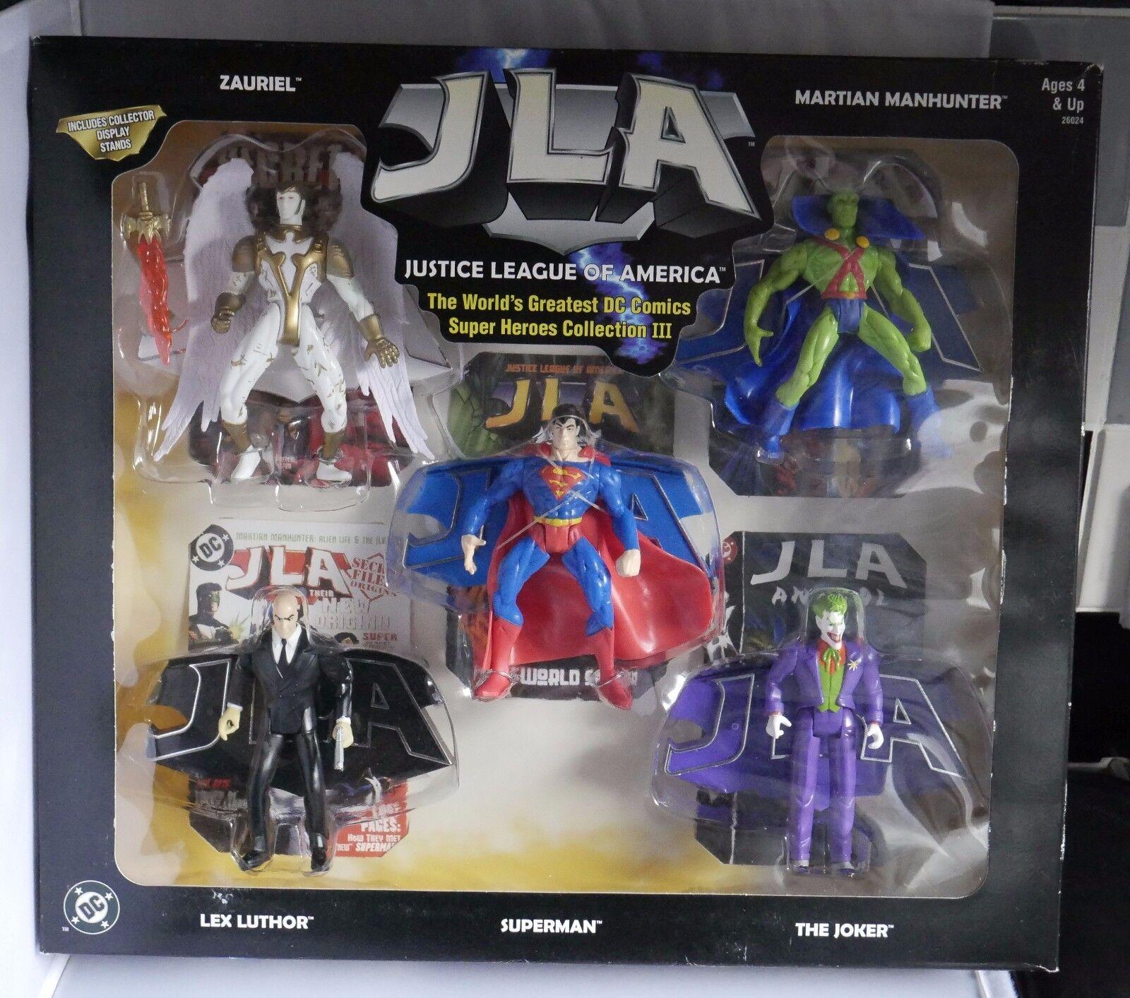 DC JUSTICE LEAGUE OF AMERICA Set 3 Incl Joker Lex Luthor Superman zauriel Figure
