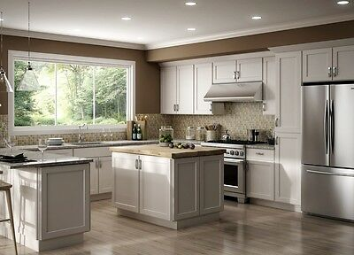 All Wood RTA 10X10 Luxor White Shaker Classic Kitchen Cabinets With Finger  Grip   eBay