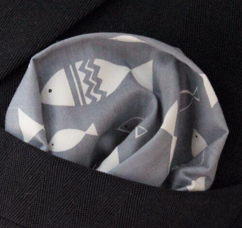 Pañuelo Pañuelo Bolsillo Cuadrado De Algodón Gris con pescado CH243