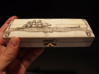Antique Style Mermaid Scrimshaw Etched Bone /& Wood Trinket Stamp Jewelry Box