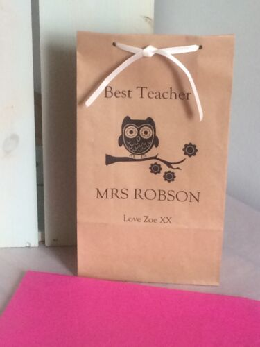 Personalised Block Bottom Paper Gift Bags Best Teacher Owl Design