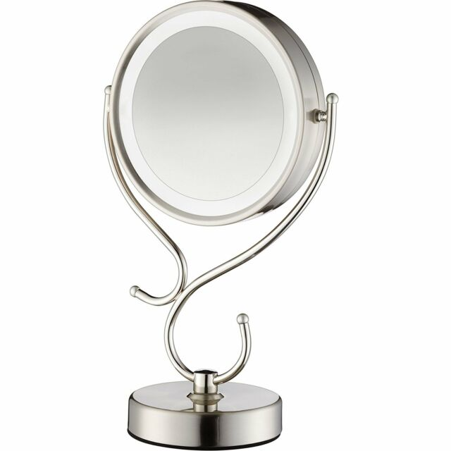 Conair Round Shaped Led Double Sided Lighted Makeup Mirror 1x 10x Magnification