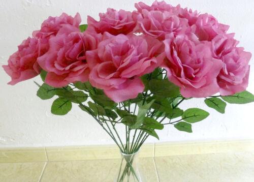 5 x Rosen magenta Kunstblumen Seidenblumen