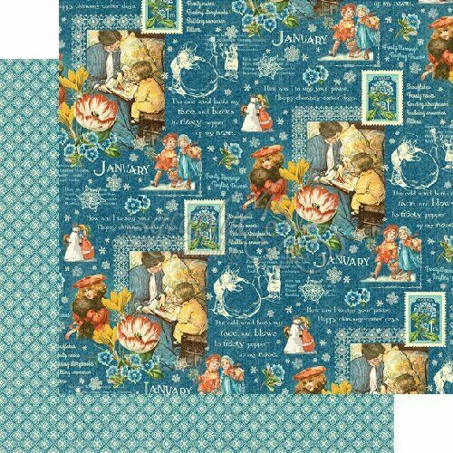 January montage 12 x 12 papers Children/'s Hour collection Graphic 45  2 sheets