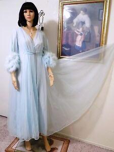 CLAIRE SANDRA LUCIE ANN BH vintage MARABOU DRESSING GOWN SEAFOAM ...