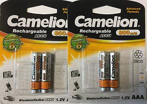 100% Wahr 4 X Nimh Akku 1,2 Volt 800 Mah Micro Aaa Hr03 Wiederaufladbar Von Camelion Von Der Konsumierenden öFfentlichkeit Hoch Gelobt Und GeschäTzt Zu Werden Akkus & Batterien