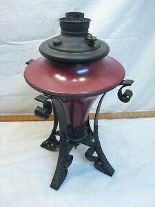 Antique Miller Co Ornate Fluid Lamp Table Light Gothic Iron Base Kero