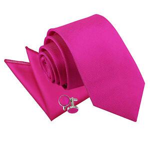 a59d7c04b29a DQT Woven Plain Solid Check Fuchsia Pink Men's Slim Tie Hanky ...