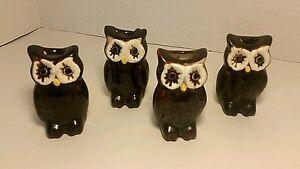 "4 Vtg 70's Mid Century Ceramic OWL 3"" Macrame Craft Plant Hanger Beads Owls"