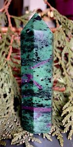 101g NATURAL BEAUTY! RUBY IN ZOISITE POLISHED CRYSTAL HEALING WAND  Tanzania