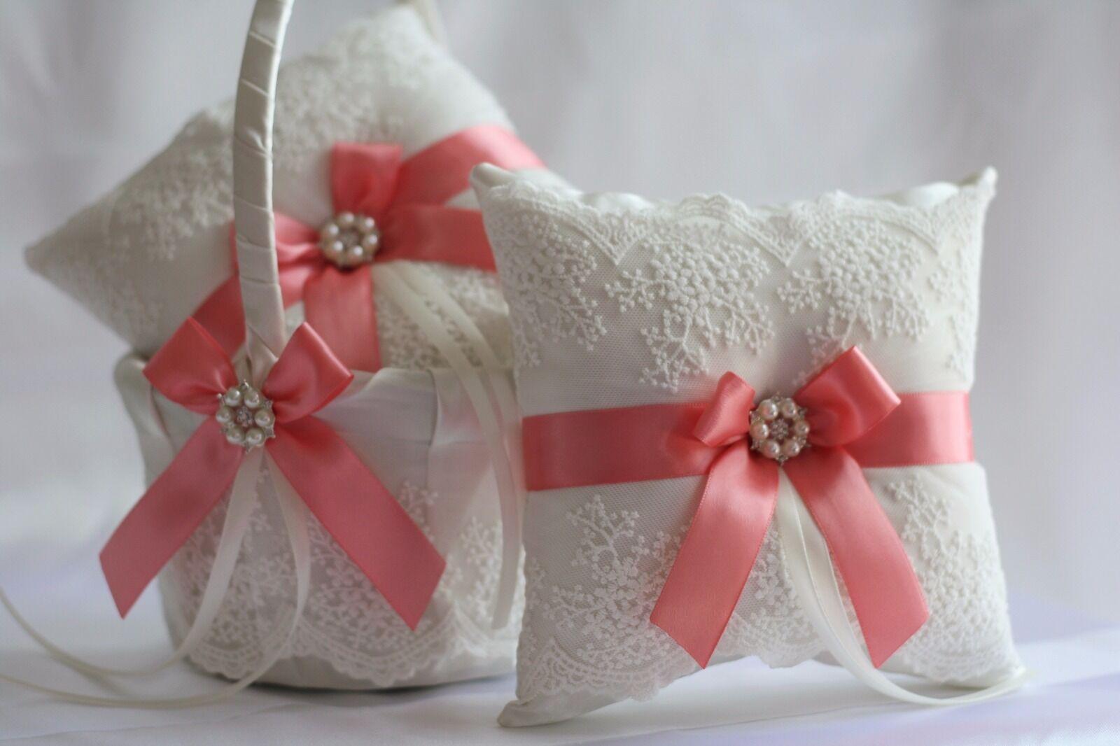 2 Coral Wedding Ring Bearer Pillows + 1 Coral Wedding Flower Girl Basket