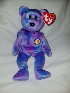 TY Beanie Baby 2001 Clubby IV Purple Bear Mint Rare Retired Babies MWMT