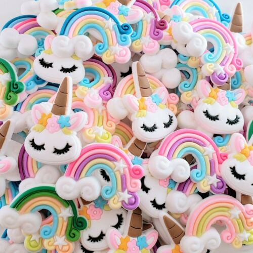 Rainbows /& Unicorns Flatback Charms Scrapbook Embellishment DIY Hair Bow Centers