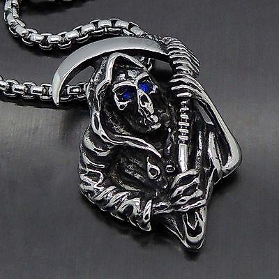 Men's Solid Grim Reapear Blue EYES Skull 316L Stainless Steel Biker Pendant