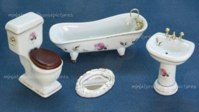 1:12 Dollhouse miniature blue porcelain bathroom set toilet basin bath TDO