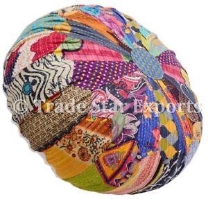 Indian-Vintage-Mandala-Kantha-Ottoman-Pouf-Cover-Patchwork-Round-Floor-Pouffe