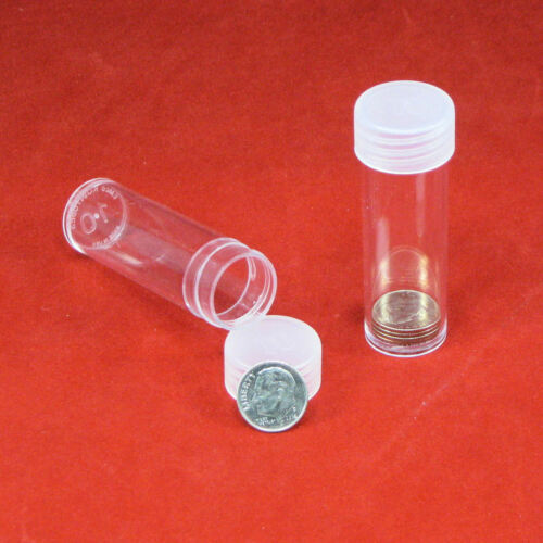 10 Round Plastic Coin Storage Tubes for Dimes with Screw On Caps
