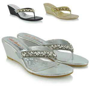Womens-Low-Wedge-Heel-Toe-Post-Diamante-Sandals-Ladies-Sparkly-Flip-Flops-3-8