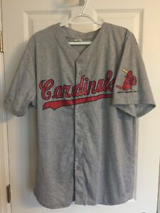 on sale fb458 3d2ad Details about MLB St Louis Cardinals Baseball Jersey Majestic Button Gray  XL Grey Vintage Mac