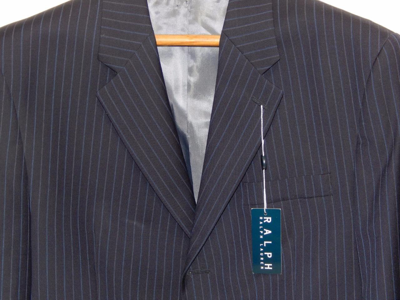 New RALPH LAUREN Men's Navy bluee Striped Wool Three Button Blazer Size 43 R