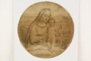 Art Honest Um 1800 Oder Früher Deutsch Tondo Zeichnung Maria Mit Dem Jesuskind Blei Velin