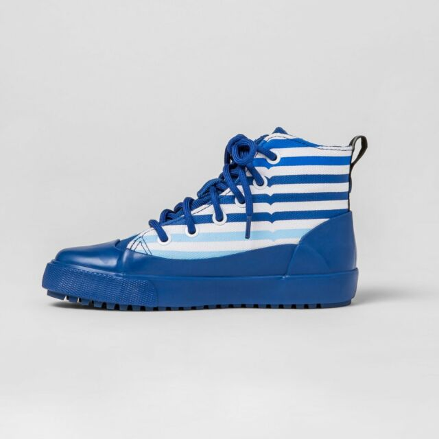 Hunter for Target Kids' Striped Dipped Canvas High Top Sneakers Blue Size 4 New