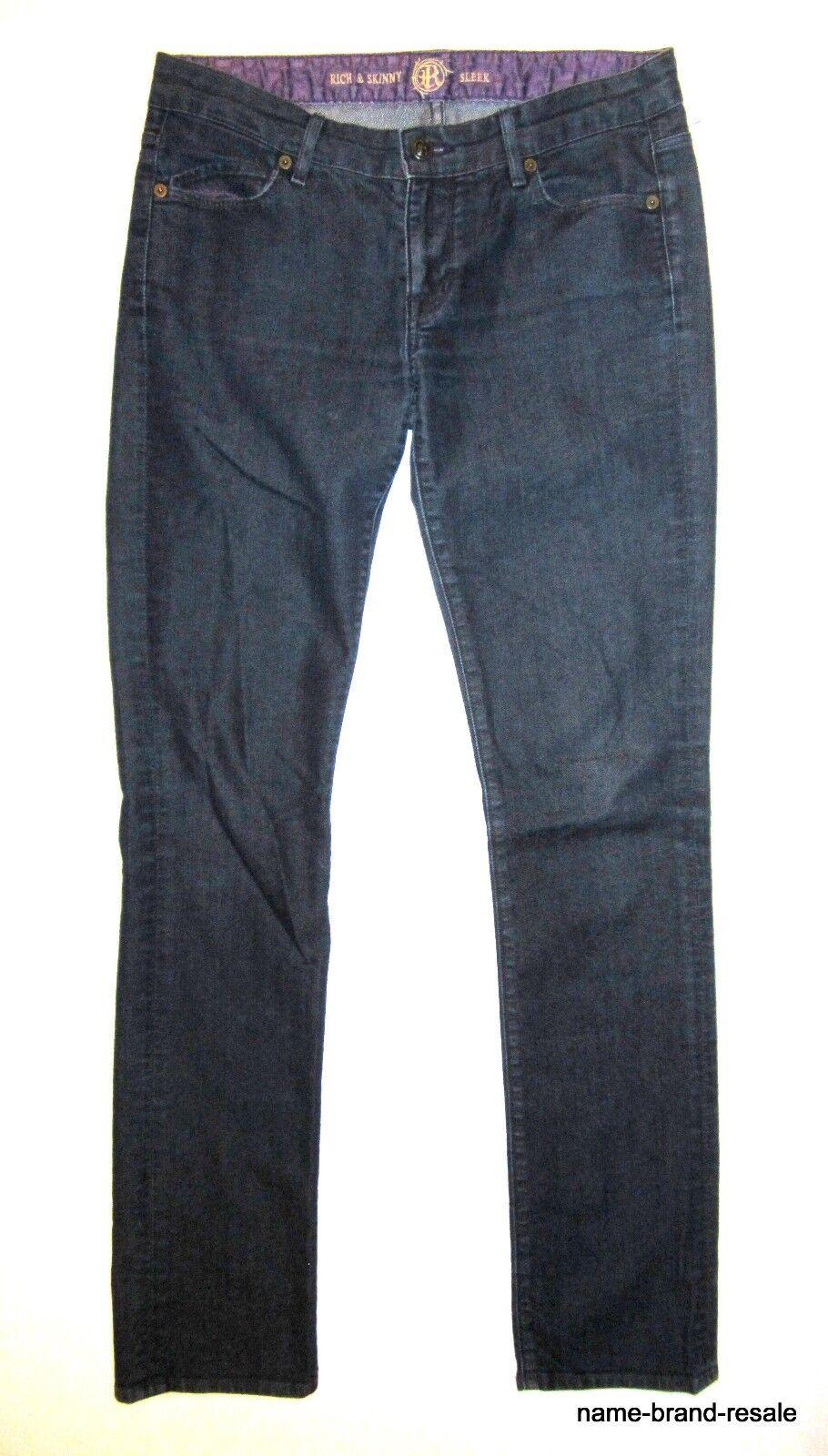RICH & SKINNY Sleek Jeans Womens 28 Dark Denim Slim Skinny Leg Ankle Length