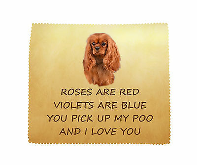Cavalier Black /& Tan LOVE YOU Microfibre Cleaning Cloth Fun Gift FROM THE DOG