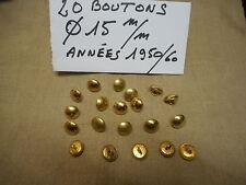 20 BOUTONS MILITAIRES METALLIQUES DORES Diamètre 15 mm FRENCH MILITARY BUTTON