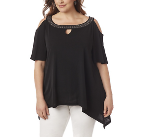 36e2576671c8 Image is loading CATHERINES-WOMEN-039-S-BLACK-COLD-SHOULDER-EMBELLISHED-