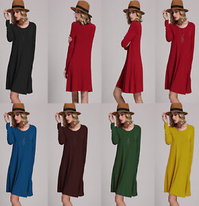 Women-Long-Sleeve-Swing-Dress-Ladies-A-Line-Skater-Mini-Dress-Top