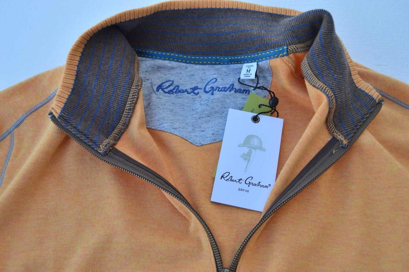 NWT  Robert Graham Mens ELIA long sleeve HALF-ZIP sweater shirt size M