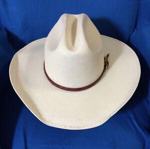 Image is loading Cowboy-Hat-TURNER-HATS-SHANTUNG-PANAMA-30X-IVORY- d6ed30e24a2