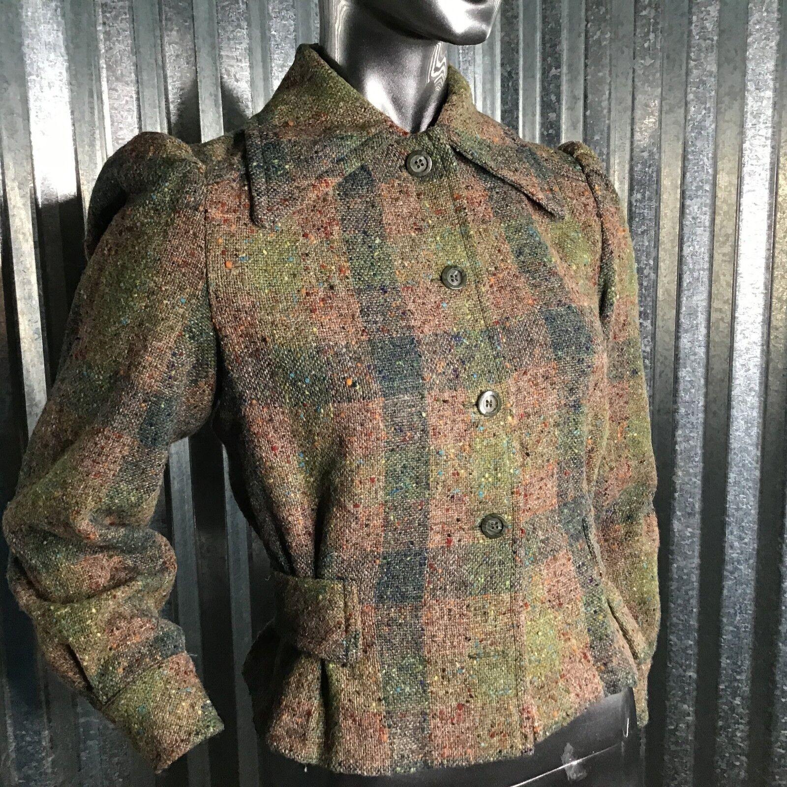 Katja of Sweden Women's 100% Wool Vintage Blazer Pleated Waist Detail Lined 34 S